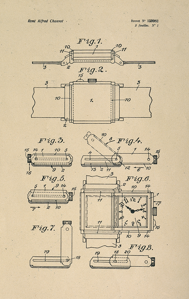 Patent drawing of the original Jaeger-LeCoultre Reverso