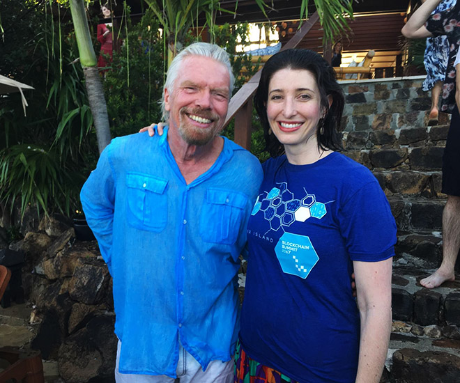 Power Ledger Co-Founder Jemma Green pictured here with Richard Branson