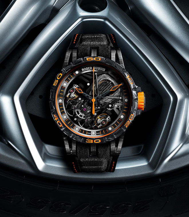 Super exclusive 8 piece orange-liveried Roger Dubuis Excalibur Aventador S Limited Edition