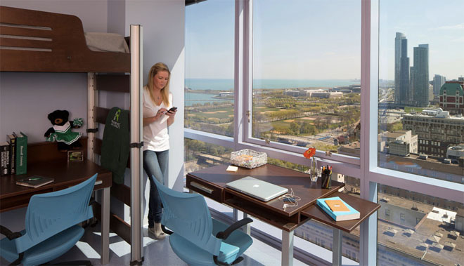 Roosevelt University provides plentiful and modern student housing in 2 upscale residence halls, all within easy walking distance of your classes and university facilities.