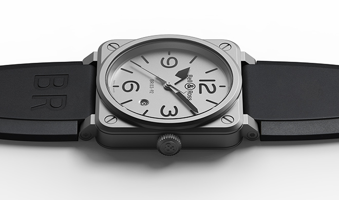 The emblematic Bell & Ross square returns in matt micro blasted steel and sandwich dial design for the new Baselworld 2018 novelty