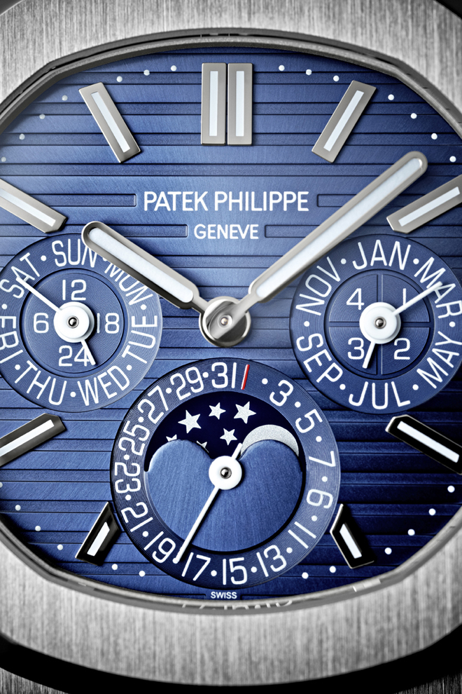The Patek Philippe Nautilus perpetual calendar 5740 carries a noble countenance with the discreet elegance of an 18K white-gold case and the utility of a celebrated expression of high horology, a perpetual calendar