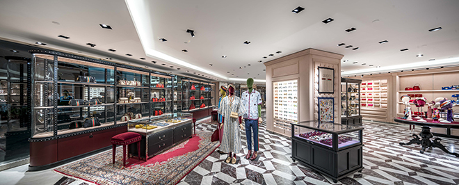 70e1bc8b0e7 Paragon s newly renovated Gucci boutique sees a blend of traditional and  modern features juxtaposed with industrial and romantic