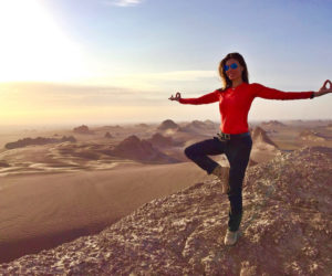Christine Amour-Levar strikes a post in the Iranian desert