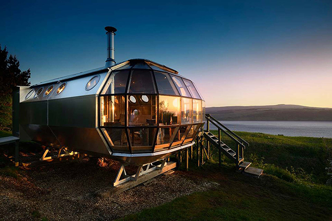 Airship Airbnb listing overlooking the Sound of Mull in Scotland, UK.