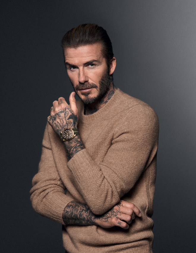 David Beckham wears the Black Bay Bronze in the new #BornToDare campaign