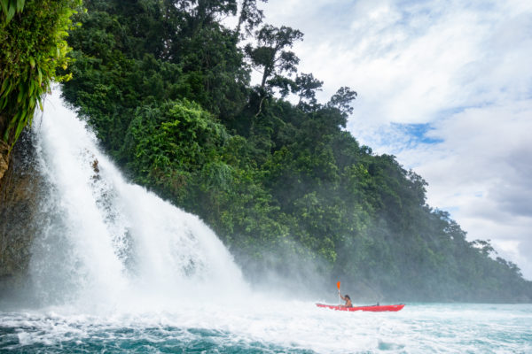 Kayaking at the iconic Mommon Waterfalls along the Kaimana coastline