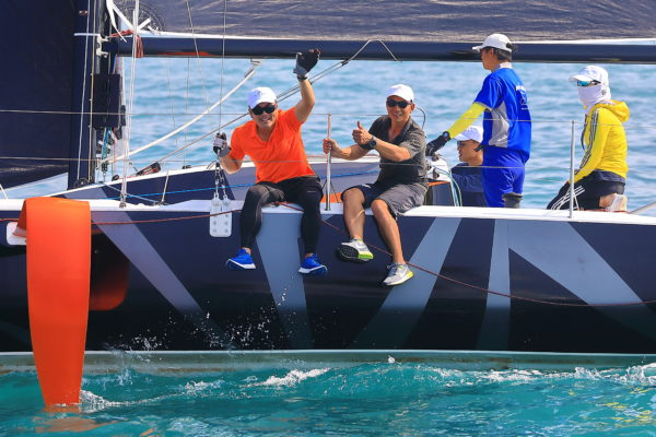 Sailors enjoying the Figaro 3, a foiling monohull designed for racing