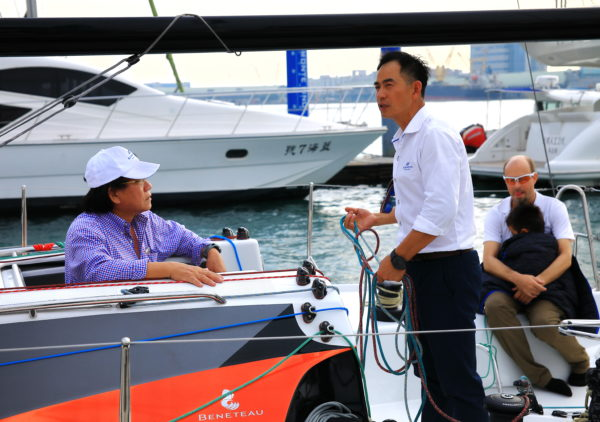 Simpson Marine's Tony Chen at an event for the arrival of a Figaro Beneteau 3 in Taiwan