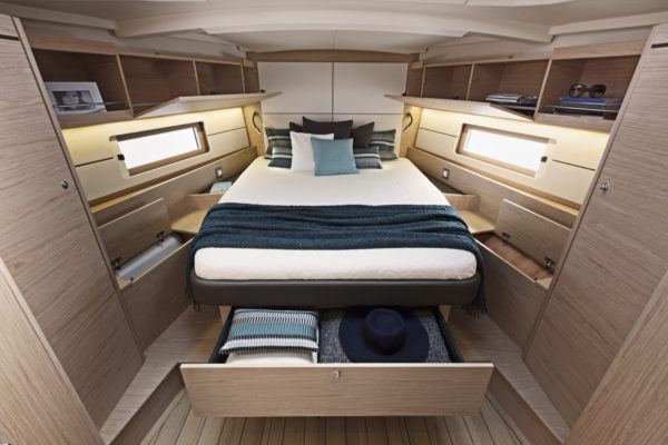 The owner's berth forward has separate rooms for shower and toilet; a benefit of the voluminous scow bow design from naval architect Pascal Conq