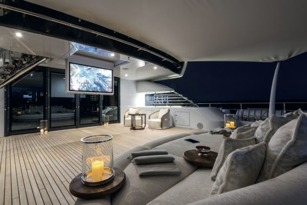 The al fresco deck entertainment includes movie options