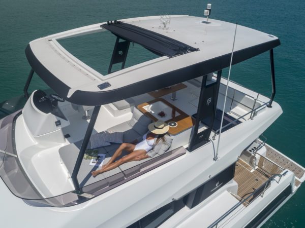 The double sunpad on the flybridge is perfect for a snooze