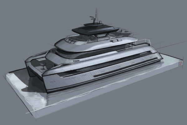 Designed by Espen Øino, the SpaceCat has over 575sqm of external living space and more than 300sqm of interior area