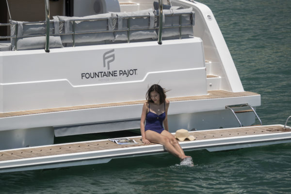 The aft platform is optional but ideal for tropical waters
