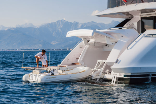 The garage is huge for a yacht of this size and can house a 4.7m tender