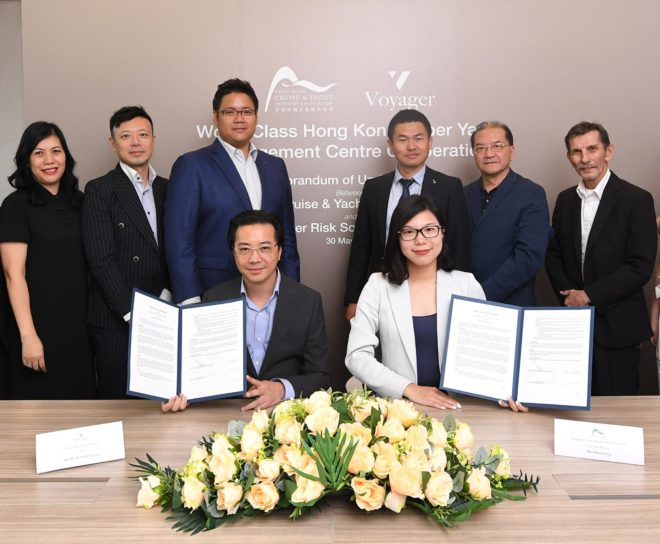 Tommy with Kara Yeung, Executive Director of HKCYIA, at the signing ceremony of the MOU for Hong Kong's new Superyacht Management Services Centre