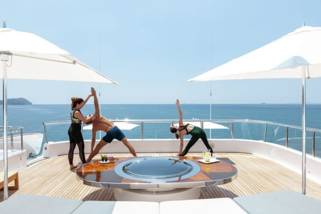 Superyachts (Lady E pictured) have the space and facilities to offer a wide range of activities; crew can often be qualified to teach yoga, water sports and much more; Photo: C/O Burgess