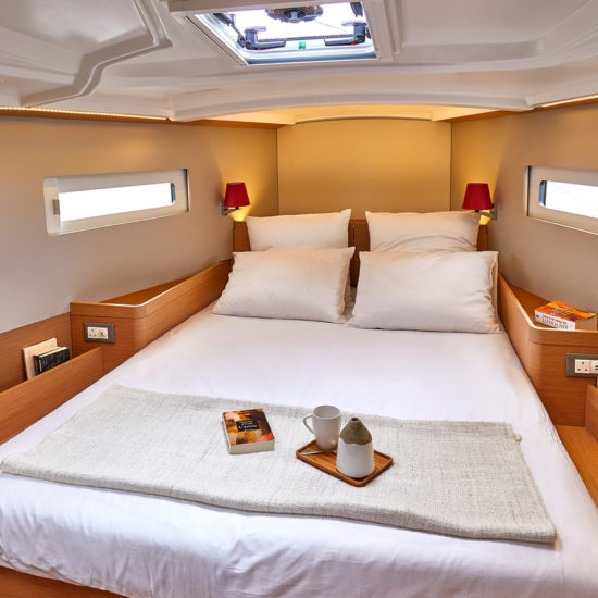 The forecabin's V-berth benefits from the tall topsides and an en-suite is an option