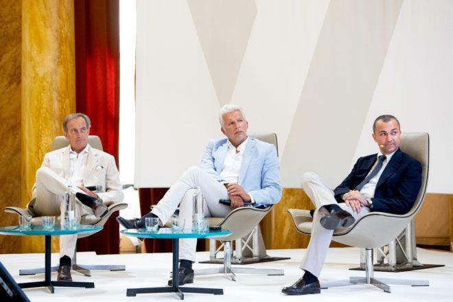 Designers Carlo Nuvolari and Dan Lenard of Nuvolari-Lenard, and Fabrizio Iarrera, CEO of Monte Carlo Yachts