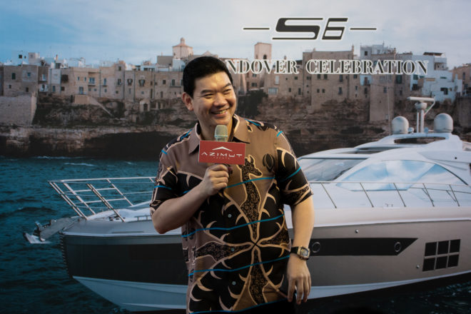 Zhuang Zhouwen is a happy man as he speaks at the official handover of his Azimut S6, the model's first unit into Asia