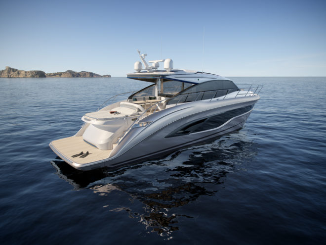 Princess's sleek V55 features an elegant aft sunpad and can reach 37 knots