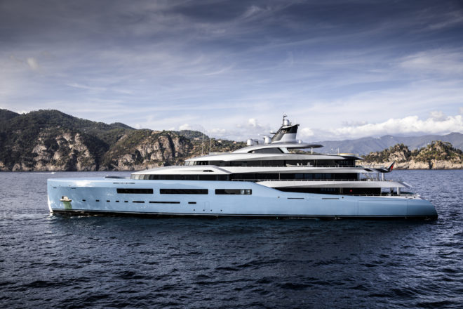 The 98.4m, 5,000GT Aviva is the largest yacht built by Abeking & Rasmussen and features a padel tennis court