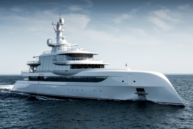The 79.95m Excellence by German yard Abeking & Rasmussen features a futuristic exterior by British studio Winch Design, led by a striking reverse bow; Photo: Tom Van Oossanen
