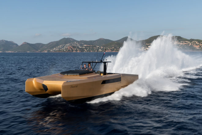 A star at Cannes last year, the Diamond Limited Edition of the Polish-built 40 Open Sunreef Power has hit 56 knots with twin 860hp Mercury Racing engines