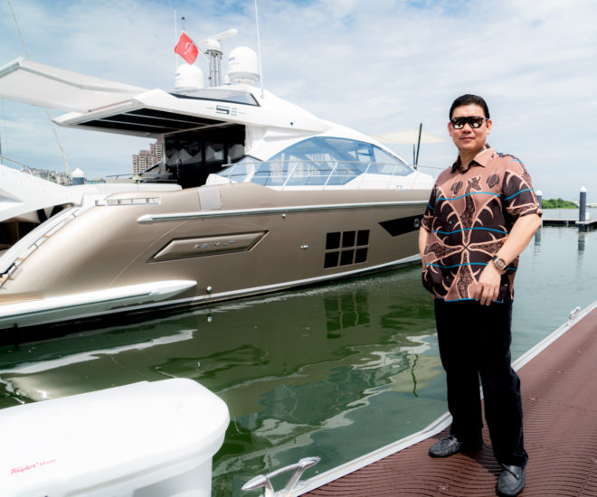 Zhuang Zhouwen with his Azimut S6 motor yacht