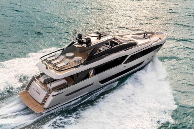The Riva 90' Argo premiered earlier this year and is making her Cannes debut as part of a strong Ferretti Group display