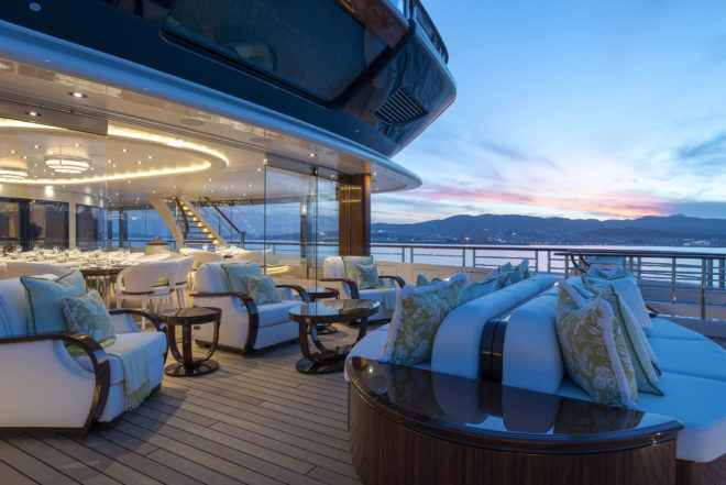 Elegant lounges on the outer decks offer cosy nooks for anything from business talks to sunset cocktails