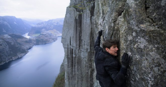 Tom Cruise in Mission: Impossible – Fallout, hanging off Preikestolen