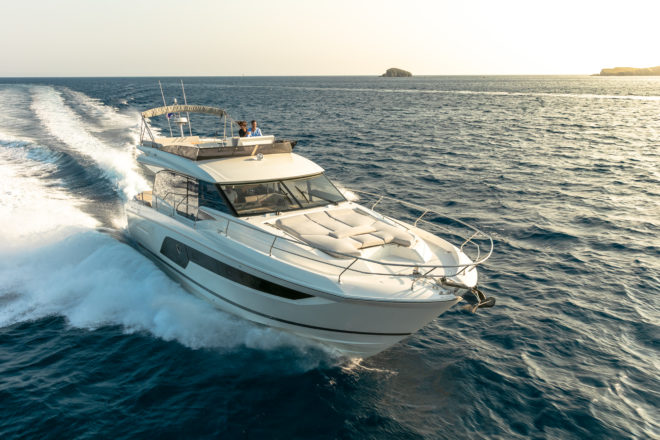 The Prestige 590 is a strong addition to the French yard's Flybridge line; Photos: Photos: Jerome Kelagopian, Jean-Francois Romero & Jean-Jacques Bernier