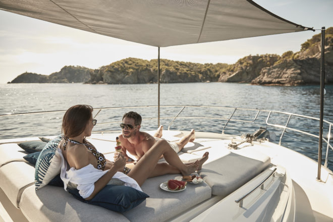 The foredeck provides a relaxing area with an optional awning