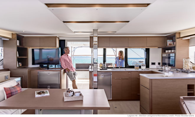 The Nauta-designed saloon has lots of seating, a large table, U-shaped galley and substantial navigation area