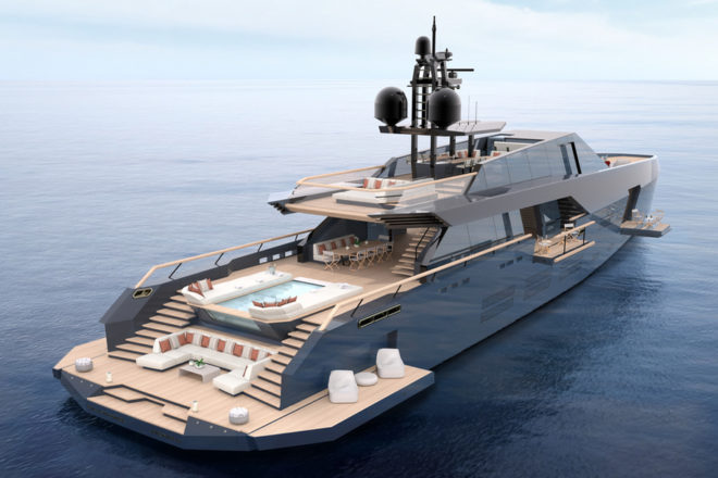 The main deck aft has an outdoor dining space and swimming pool flanked by large sunpads