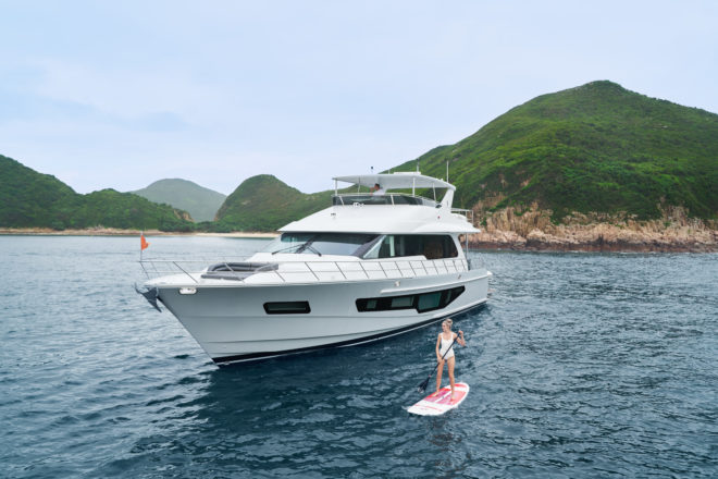 The CLB 72 has enough toys for a fun day out or weekend in Hong Kong's sheltered bays, plus a huge swim platform, which extends the LOA to 76ft 9in