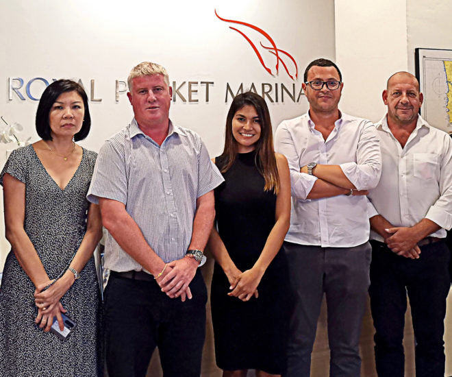 Yacht Sourcing's Sontaya Ruennam (middle), Nicolas Monges (second right) and Xavier Fabre (far right) with Royal Phuket Marina staff