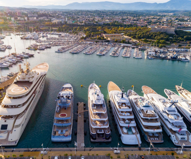 With superyacht infrastructure designed by Poralu Marine, France's Port Vauban, Quai des Milliardaires is a popular mooring for superyachts in the Mediterranean; (C) Josip Baresic