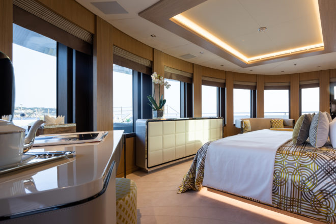 The owner's accommodation on the upper deck has two double cabins, his and hers bathrooms, and expansive views, including over the foredeck
