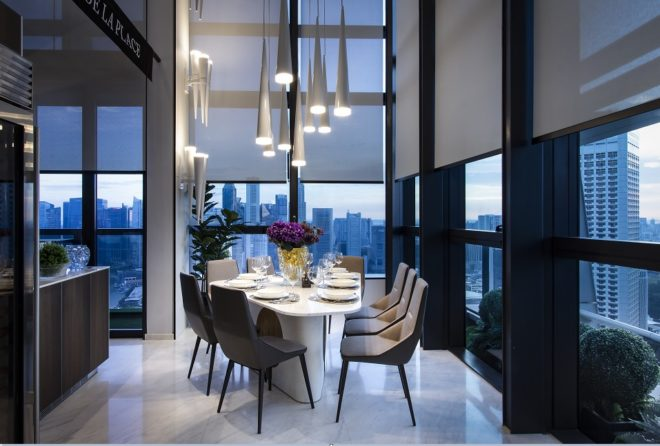 Dining area of penthouse located at South Beach Residences