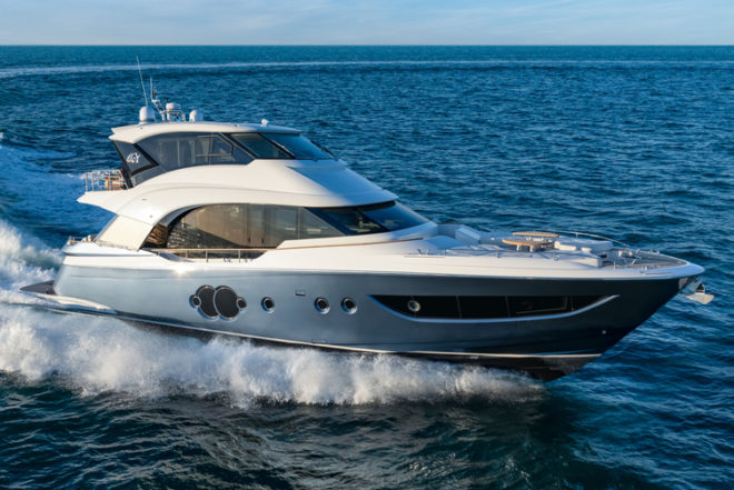 The MCY 70 Skylounge is Monte Carlo Yachts' first enclosed-flybridge model