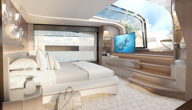 The 100 Yacht features a main-deck owner's suite with private access to the bow terrace