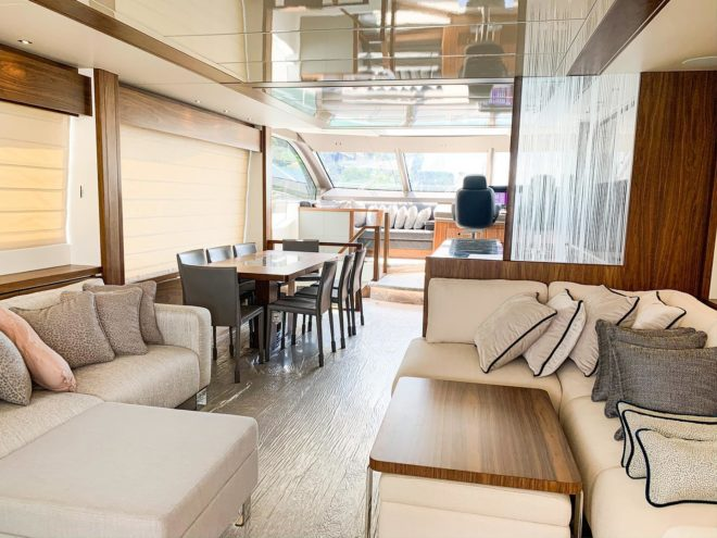 The interior of the new Sunseeker 76 Yacht