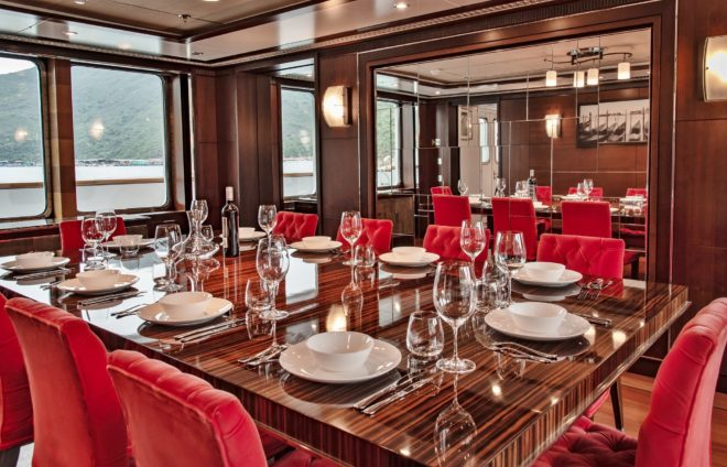 The interior of the 44m Odyssey, a 2007 build by Danish yard Royal Denship