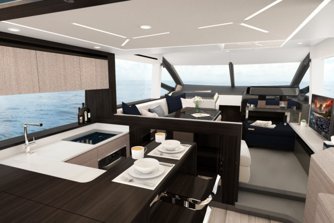 The aft galley on the Sunseeker Manhattan 55 has a raised breakfast island