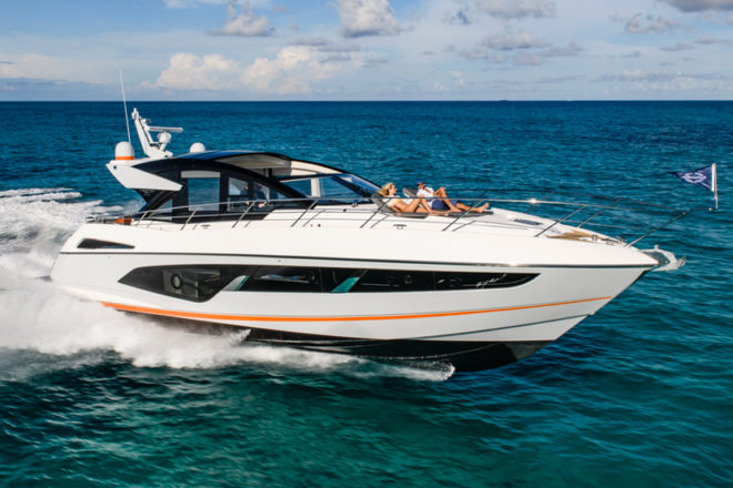 The Sunseeker Predator 60 Evo is distinguished by the racy orange stripe along its hull