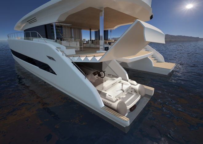 With no engine room, the Silent 80 has a huge garage in the port hull