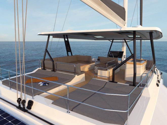 Flybridge sunpads contrast with shaded lounge areas forward