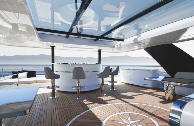 The immense flybridge can be customised; hull one could be a great party boat